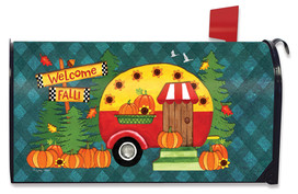 Welcome Fall Camper Primitive Mailbox Cover