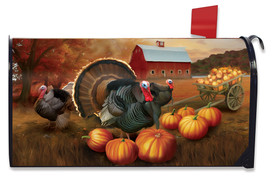 Autumn Turkeys Mailbox Cover