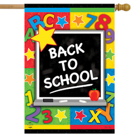 Back To School Chalklboard Fall House Flag