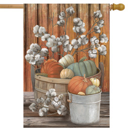 Pumpkins and Willows Autumn House Flag
