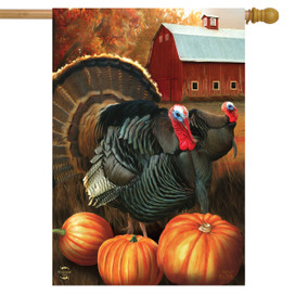 Autumn Turkeys House Flag