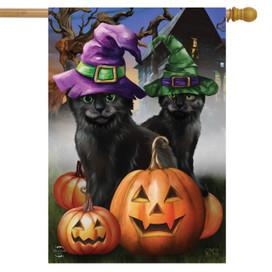Spooky Kittens Halloween House Flag