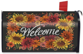 Fall Flowers Welcome Magnetic Mailbox Cover
