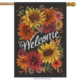 Fall Flowers Welcome House Flag