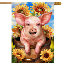 Happy Piglet Fall House Flag