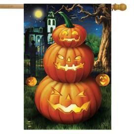 Spooky Jack O'Lanterns Halloween House Flag