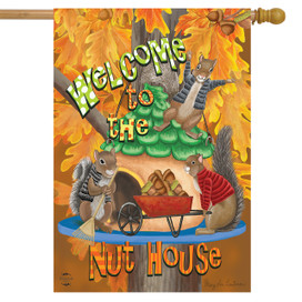 Welcome Fall Nuthouse House Flag