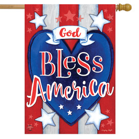 God Bless America Heart House Flag