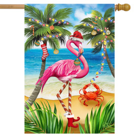 Christmas in Paradise Flamingo House Flag