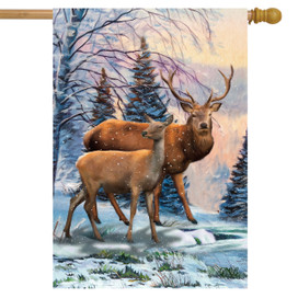 Winter Deer Scene House Flag