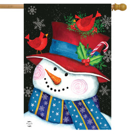 Snowman And Cardinals Christmas House Flag