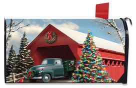 Snow Covered Bridge Christmas Mailbox Cover