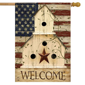 Americana Welcome Patriotic House Flag