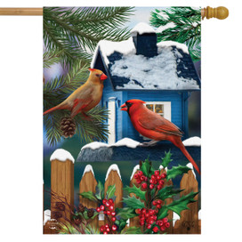 Snow Day Cardinals Winter House Flag