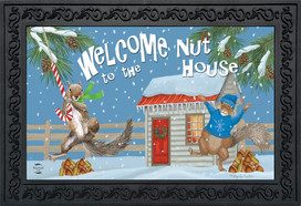 Winter Nuthouse Squirrels Doormat