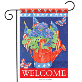 Hydrangeas & Flags Garden Flag