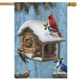 Festive Feathered Friends Christmas House Flag