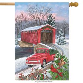 Winter Covered Bridge Seasonal House Flag