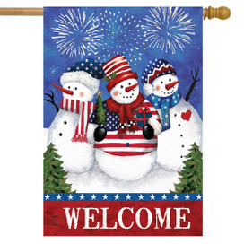 American Snowmen Winter House Flag