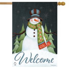 Happy Snowman Winter House Flag