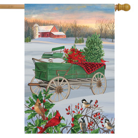 Winter Wagon House Flag