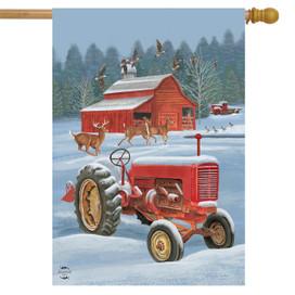 Winter On The Farm House Flag