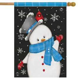 Jolly Winter Snowman House Flag