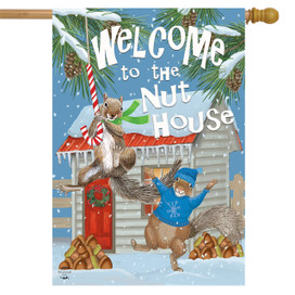 Winter Nuthouse Squirrels House Flag