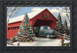 Snow Covered Bridge Christmas Doormat