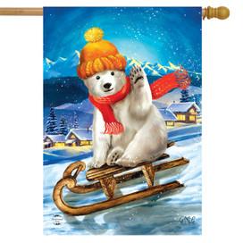 Polar Bear Winter House Flag