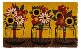 Fall Mason Jars Floral Natural Fiber Coir Doormat