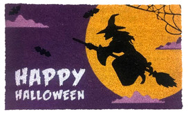 Halloween Witch Natural Fiber Coir Doormat