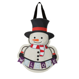 Winter Snowman Burlap Door Hanger