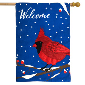 Cardinal Burlap Winter House Flag