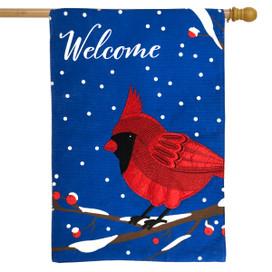 Cardinal Burlap Winter House Flag