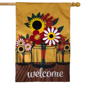 Fall Mason Jar Floral Applique House Flag