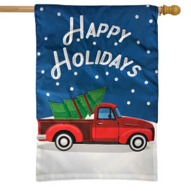 Happy Holidays Truck Applique House Flag