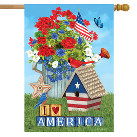I Love America Patriotic House Flag