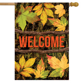 Outdoors Welcome Fall House Flag