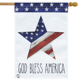 God Bless America Star Patriotic Burlap House Flag