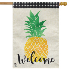 Welcome Pineapple Everyday Burlap House Flag