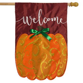 Welcome Pumpkin Fall Applique House Flag