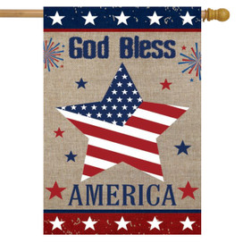 God Bless America Star Burlap House Flag