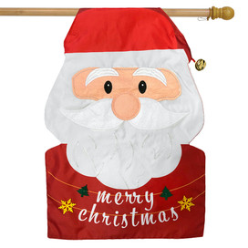Merry Christmas Santa Applique House Flag