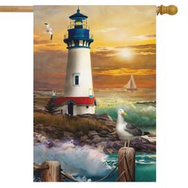 Sunset Lighthouse Summer House Flag