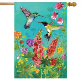 Hummingbird Greeting Spring House Flag