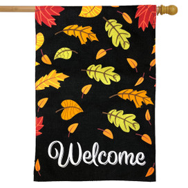 Welcome Leaves Fall Burlap House Flag