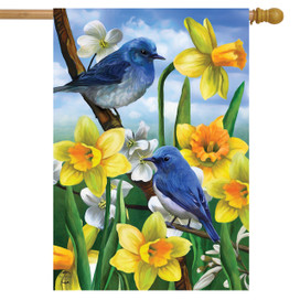 Bluebirds And Daffodils Spring House Flag