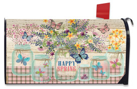 Happy Spring Mason Jar Mailbox Cover