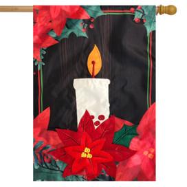 Poinsettia Candle Christmas Applique House Flag